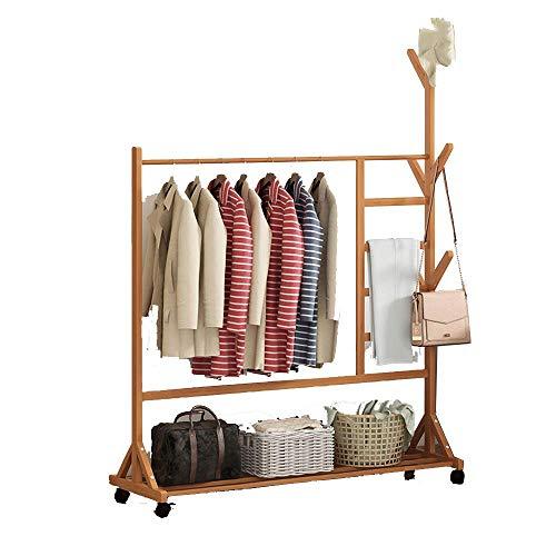 Met broekstandaard, verrijdbare kleerhanger, verticale kapstok, opslagrek, multifunctionele garderobe, woonkamer, slaapkamer, houtkleur 100 x 38 x 176 cm 100 x 38 x 176 cm, houtkleur.