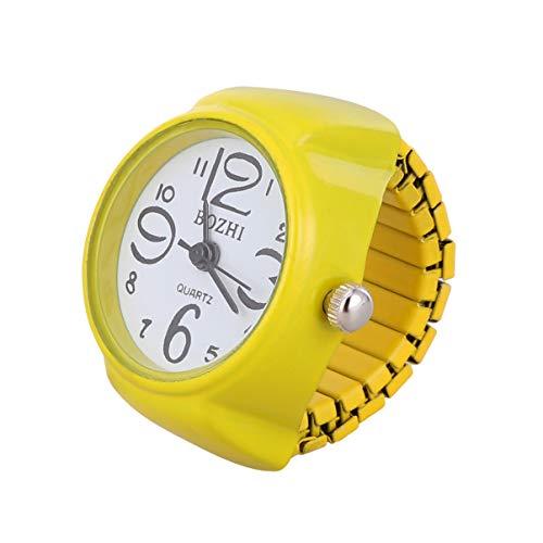 NICERIO Unisex Anillo de Dedo Reloj Moda Redondo elástico Reloj Anillo joyería Reloj de Cuarzo Anillo para Mujeres Regalo Hombres Regalo (Blanco)