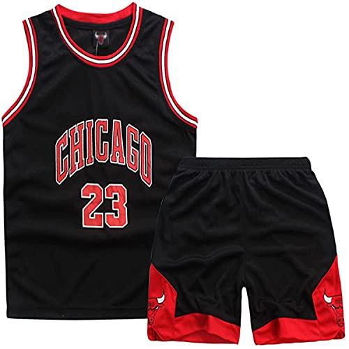 Yezelend Niño Michael Jordan # 23 Chicago Bulls Retro Pantalones Cortos de Baloncesto Camisetas de Verano Uniformes y Tops de Baloncesto (Schwarz,S)
