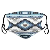 Balaclava Elastic Band Non Slip Half Custom Face Mask Cover Outdoor Party, Colorful Surf Blue Colors Tribal Navajo Pattern Aztec Abstract Geometric Ethnic Hipster Design Machine Washable With 2 Filter