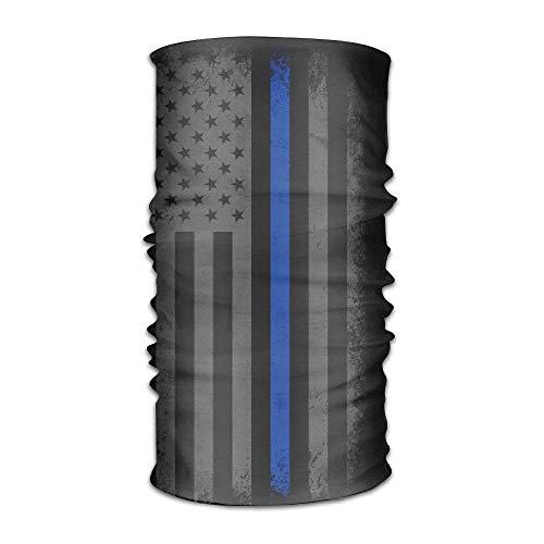 US Thin Blue Line Flag Retro Quick Dry Microfiber Headwear Outdoor Magic Bandana As Neck Gaiter Head Wrap Headband Scarf Face Mask Ultra Soft Elastic One Size