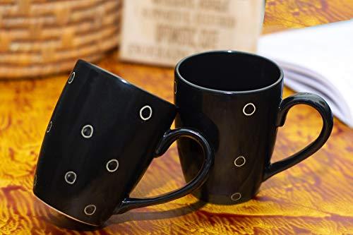 Amisha Gift Gallery Handmade Ceramic Floral Printed Coffee Mugs- Set of 2 330 ML, Microwave & Dishwasher Safe Made in India Coffee Mug Set of 2 (Print-14)