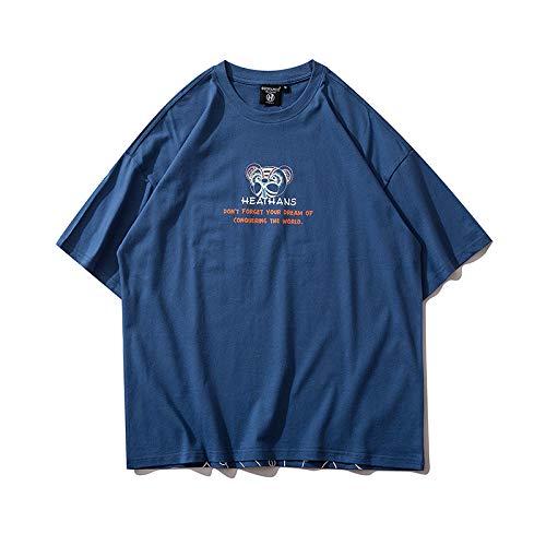 DREAMING-Sudadera de Verano de Manga Corta con Camiseta de algodón de Cuello Redondo Estampada Suelta para Hombres y Mujeres Camisas de Parejas M