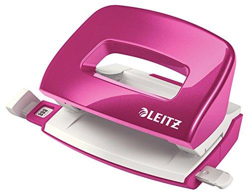 Leitz 50601023 kleiner Locher (10 Blatt, Anschlagschiene mit Formatvorgaben, Metall, WOW) metallic pink