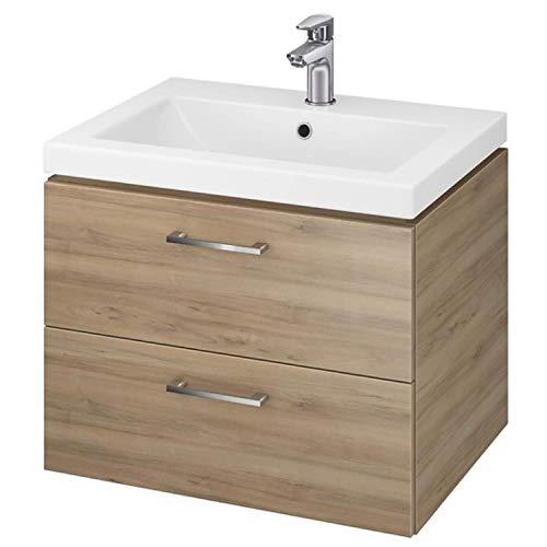 VBChome Waschtischunterschrank 60 cm Waschbecken mit Unterschrank 2 Schubladen Nussbaum Badmöbel weiß Hochglanz Badezimmermöbel hängend