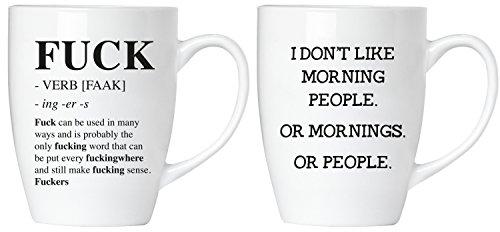 Brubaker Tassen Geschenkset - Fuck! I Don't Like Morning People. Or Mornings. Or People - Tassen Set aus Keramik - mit Grußkarte und Geschenkpackung