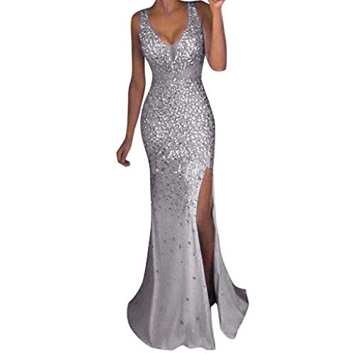 Women Sequin Prom Party Ball Gown Sexy Gold Evening Bridesmaid V Neck Long Dress,Z-Silver,Small