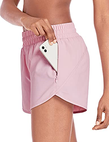 BALEAF Women's 4' Running Athletic Shorts with Liner Zipper Pockets for Workout Gym Sports Pink Medium