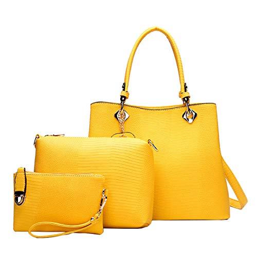 NIYUTA Bolsos de mano Mujer Bolsos bandolera Moda Bolsos totes Shoppers y bolsos de hombro 3 piezas es169 Amarillo