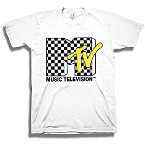 MTV Mens Shirt with Checkerboard - #TBT Mens 1980's Clothing - I Want My T-Shirt (White, X-Large)