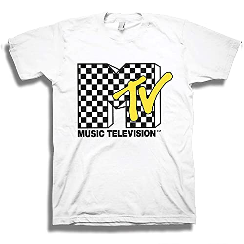 MTV Mens Shirt with Checkerboard - #TBT Mens 1980's Clothing - I Want My T-Shirt (White, Large)