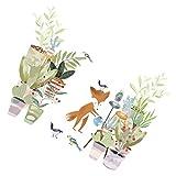 jojofuny 1 Set 2 Piezas de Calcomanías de Pared de Plantas de Dibujos Animados Animales Zorro Plantas Verdes Calcomanía de Pared de Foto Prop TV Pegatina de Póster Decorativo para Niños