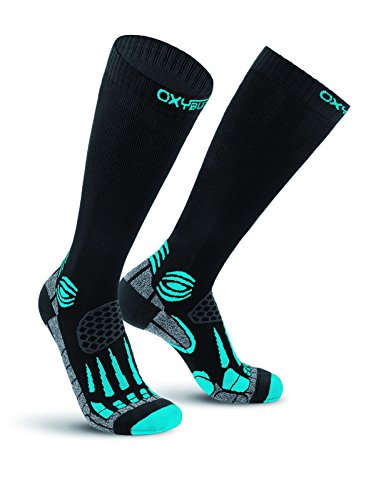Oxyburn Running Knee-High Energr Compression L Chaussettes Homme, Black/Malibu, Size 42/44