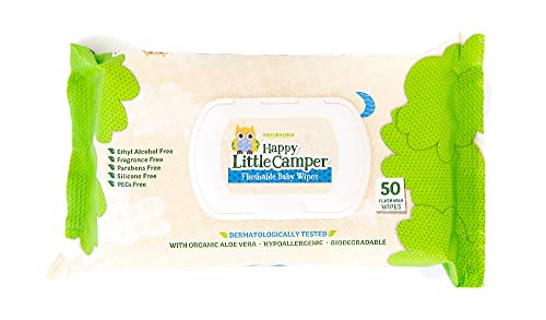 Happy Little Camper Natural Flushable Wet Wipes with Aloe Vera and Vitamin E, Chlorine-Free, Unscented, Gentle, Hypoallergenic and Dermatologically Tested, Septic Safe, 50 Count