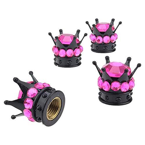 Gazechimp 4pcs Couvre-Bouchons de Valve à Air de Tige de Roue en Forme de Couronne Noir et Diamant Blanc/Rose/Corail/Rouge/Violet - Corail, 12.8x15.8mm
