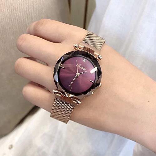 Shangwang Orologio da donna minimalista al quarzo giapponese oro rosa anello in acciaio inox cinturino chiusura magnetica orologio RoseGoldPurple