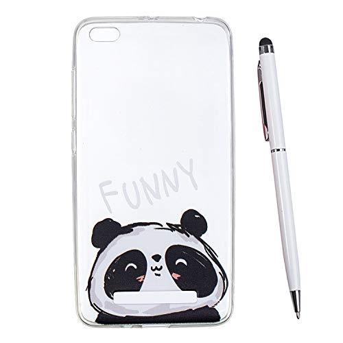 TOUCASA Funda Xiaomi Redmi 4A,Glitter Super Delgado y Ligero Transparente TPU Silicona,Funda Móvil Case Brillo, Ultra-Delgado Anti-arañazos Case Cover para Xiaomi Redmi 4A (Panda)