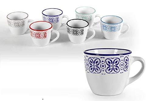 GICOS IMPORT EXPORT SRL Set 6 tazzine caffè Senza piattino Servizio in Ceramica 5,5 cm Colori Assortiti SIZ-774010