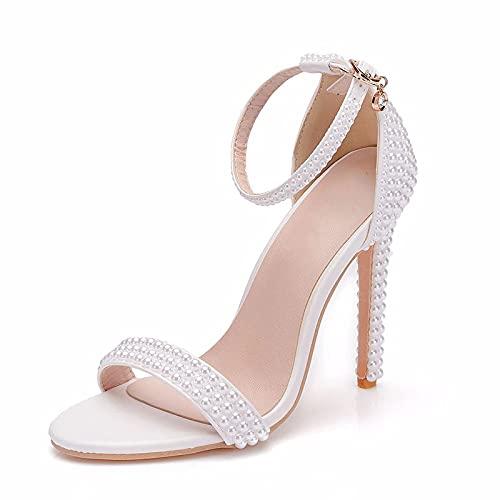 YLKCU Zapatos de Novia para Mujer, 9 cm Blanco Perla Hebilla Tacones...