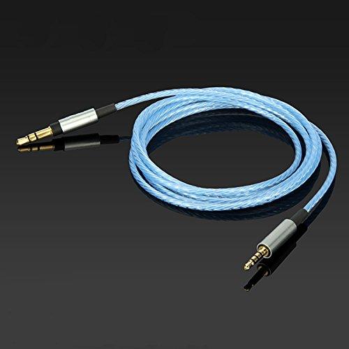 MiCity Cable de repuesto chapado en plata para auriculares JBL EVEREST E45BT E50BT E55BT E30 (azul sin micrófono)