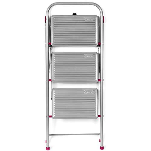 Kleeneze® KL068514EU zusammenklappbare 3-stufige Trittleiter für Heimwerker, 105cm, rosa/grau, Tragfähigkeit