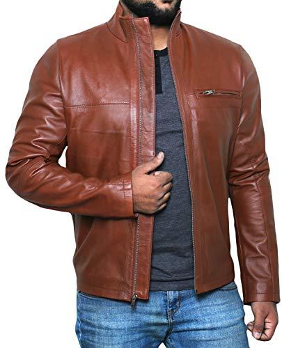 Laverapelle Men's Genuine Lambskin Leather Jacket (TAN, 3XL, Polyester Lining) - 1501135