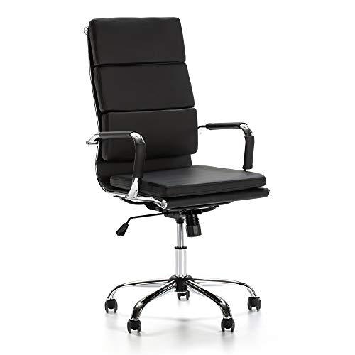 VS Venta-stock Sillón de Oficina Morgan reclinable Negro, Piel sintética, Silla ejecutiva con reposacabezas y conjín engrosados, Altura Ajustable, Diseño ergonómico