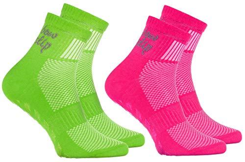 Rainbow Socks - Niño Niña Deporte Calcetines Antideslizantes ABS de Algodón - 2 Pares - Rosa Verde - Talla 24-29