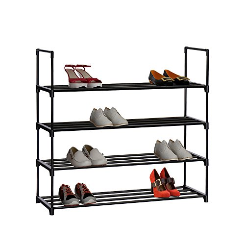 "Homebi 4-Tier Shoe Rack Metal Shoe Tower 20-Pair Shoe Storage Organizer Unit Entryway Shelf Stackable Cabinet 4 Tiers Durable Metal Shelves,35.6""W x 12.0"" D x 33.27""H (Black) (Black)"