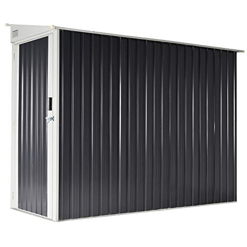 Outsunny 3' x 8' Backyard Garden Tool Storage Shed with Lockable Door, 2 Air Vents & Steel Construction