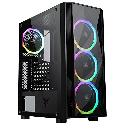 Itek Shake Evo - Case PC Gaming Middle Tower ATX, Ventole 4x12cm ARGB, 2 Porte USB 2.0, 1 Porta USB 3.2, Pannello Laterale in Vetro temperato, Nero