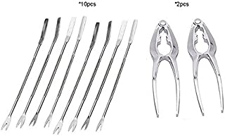 Rockland Guard - 10-piece Seafood Tools Set, 2 Lobster Crackers and 8 Seafood Forks.