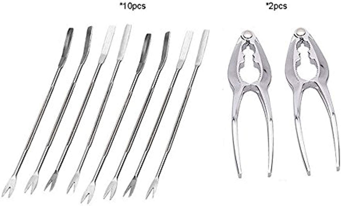 Rockland Guard 10 Piece Seafood Tools Set 2 Lobster Crackers And 8 Seafood Forks