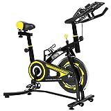 sxxytcwl cys280 coperta silenziosa spinning bike fitness bicicletta con adjustable seat/maniglia bevande supporto del telefono mobile/supporto tablet pc mat monitor lcd (colore: bianco) jianyou