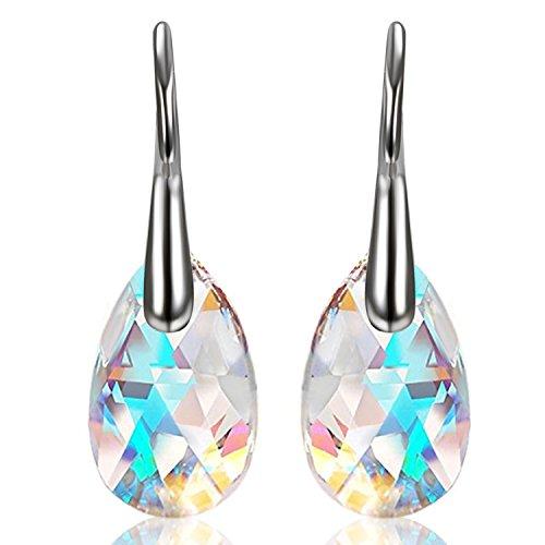 Aroncent Pendientes de lágrima 'Aurore Boreale' hechos con cristales de Swarovski