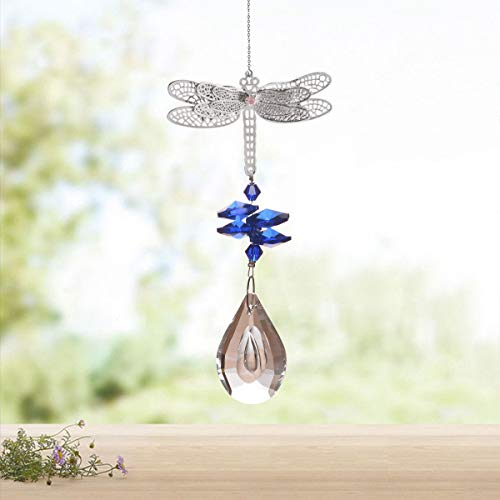 WEISIPU Crystal Suncatcher Prism - Dragonfly Suncatchers for Windows Hanging Rainbow Maker for Windows, Christmas Tree Decor, Gifts (Blue)