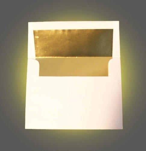 White A2 (4 3/8' x 5 3/4') Gold Foil Lined Envelopes - 50 Envelopes - Desktop Publishing Supplies Brand Envelopes