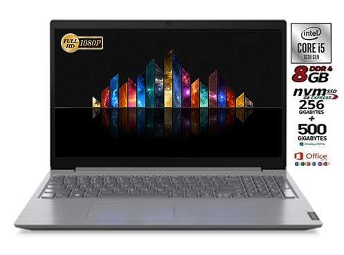Notebook Lenovo SLIM SSD, Intel i5 di 10th GEN. 4 Core, SSD da 256Gb Nvme+Hdd da 500 Gb, 8Gb DDR4, Display Full Hd da 15,6 Antiglare, webcam, 3 usb, Win10 Pro, Office2019, Pronto All'uso, Italia