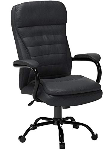 Boss Office Products Heavy Duty Double Plush LeatherPlus Chair with 350lbs Weight Capacity in Black