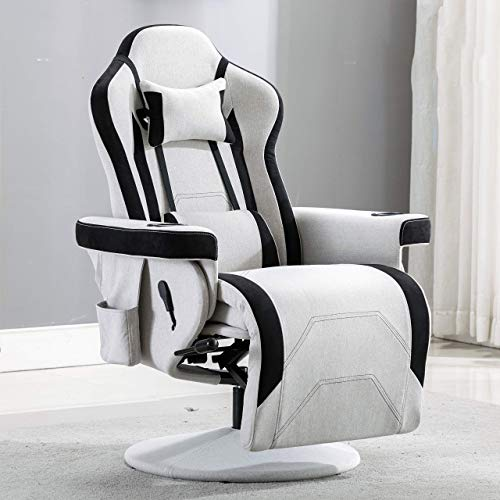 Merax Gaming Recliner Gaming Chair Desk Chair with Footrest,Headrest,Lumbar Pillow,2 Cup holders, 2 Removable Side Pouches (White)