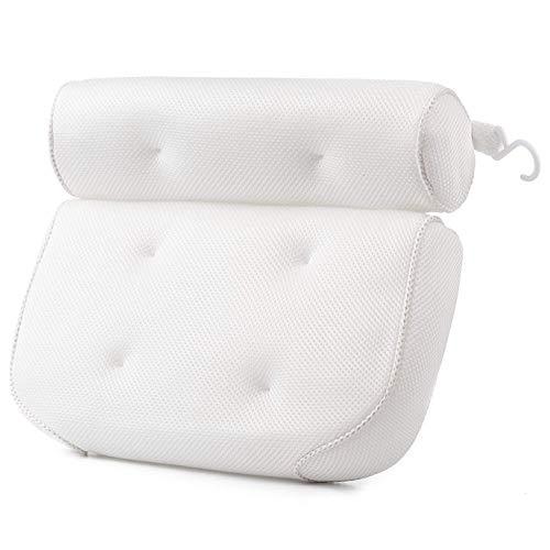 Badewannenkissen Nacken mit 6 Rutschfesten Saugnäpfen SPA Kissen Badewanne Stützfunktion für Kopf, Rücken, Schulter, Nacken Passend für Badewannen, Whirlpools, Whirlpool und Home Spa - Weiß