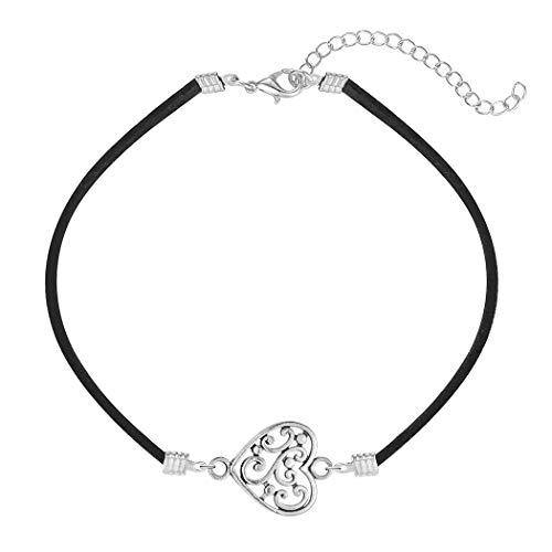 Chandler - Tobillera de acero inoxidable con forma de corazón para mujer, estilo vintage, para boda, regalo de novia, cadena ajustable, joyería delicada, 8 cm