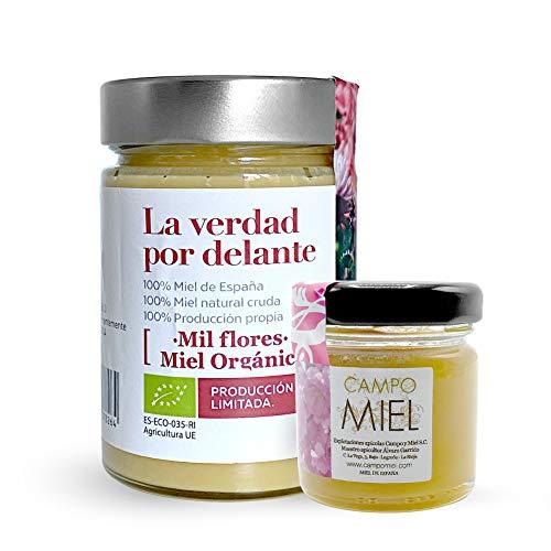 Miel Bio Mille Fleurs 450gr. | Miel Bio d'Espagne 100% Naturel, Organique, Frais et Cru | Miel avec certification biologique | Miel cru, extraction à froid, issu d'une production 100% biologique