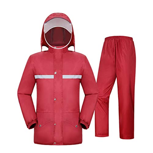 ZhuFengshop Regenjas regenbroek pak, Full Body Volwassen voet Mannen en vrouwen rijden Row regenjas Rainy Season, Snowy Day, lichtgewicht, sneldrogend (Color : Red, Size : XXXL)