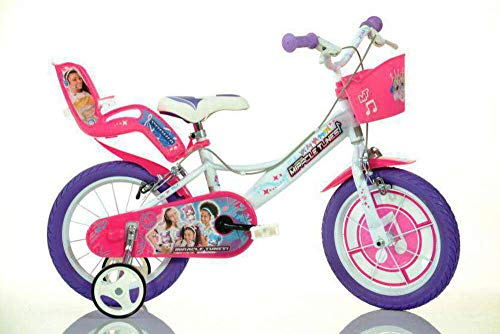 giordanoshop Bicicletta per Bambina 14' 2 Freni Miracle Tunes Bianca e Viola