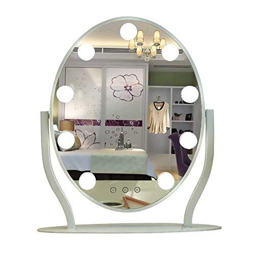 WANGXIAOLINJINGZI Espejo de Maquillaje con Bombilla, Metal Smart Round Desktop Vanity Mirror Three-Color Light Light Light Mirror Cargando Espejo de Belleza de Alta definición, Negro (Color : White)