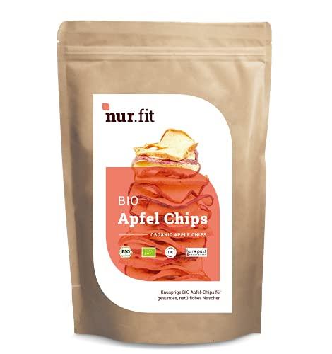 nur.fit BIO chipsy jabłkowe, 250 g – uprawa Niemiec – czysto naturalne chipsy jabłkowe, bio bez dodatków – suszone owoce wegańskie i bezglutenowe – lokalna superfood w jakości ekologicznej – zdrowe przekąski