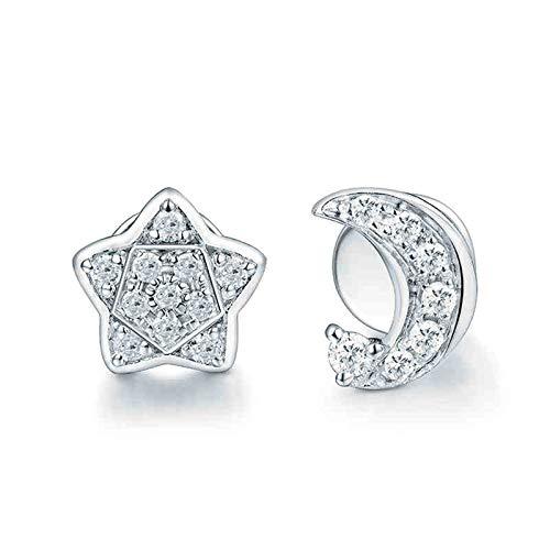 Daesar Pendientes Mujer Oro Blanco 18K,Estrella Luna Diamante 0.13ct,Plata