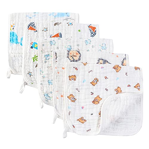 Muslin Burp Cloths Comfy Burp Clothes - Baby Burp Rags for Boy Girls Muslin Bibs 6 Layers Large 20''x10'' 100% Cotton Hand Washcloths Soft Absorbent by CuteBaby (5 Pack) (Blue)