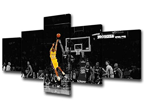 Black and Yellow Background Match Wall Art Painting Basketball Player Kobe Bryant of Lakers at Staples Center in Los Angeles Pictures Print On Canvas for Home Decoration Ready to Hang -50'W x 24'H